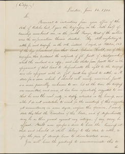 Copy of Letter from Oliver Herrick to the Maine House and Senate, 14 June 1824