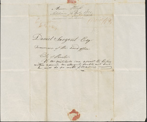 Aaron Wass to Daniel Sargent, 20 July 1825