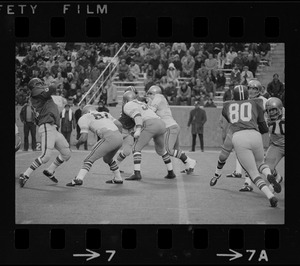 Boston College defense during a play in a game against Holy Cross at Schaefer Stadium