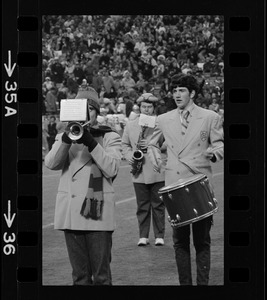 Band members playing during halftime of a Boston College vs. Holy Cross football game at Schaefer Stadium