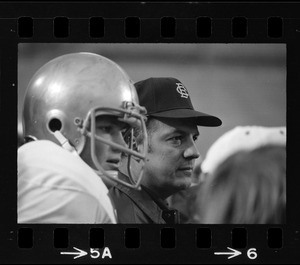 Boston College football coach Joe Yukica during a game against Holy Cross at Schaefer Stadium
