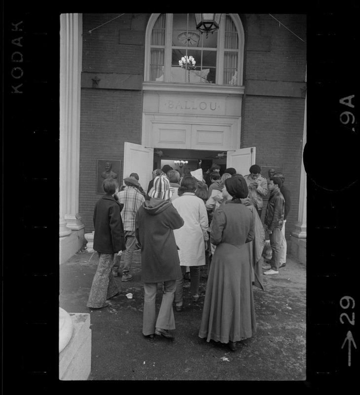 Tufts University students entering Ballou Hall during time of student demonstrations