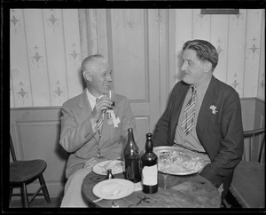 Dr. Ernst Hanfstaengl with Louis A. Shaw. Hitler aide back for 25th reunion of Harvard class of 1909.