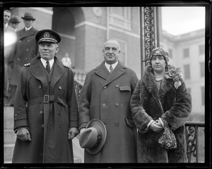 Capt. George Fried - hero of the SS America. With Gov. Frank Allen and Mrs. Fried