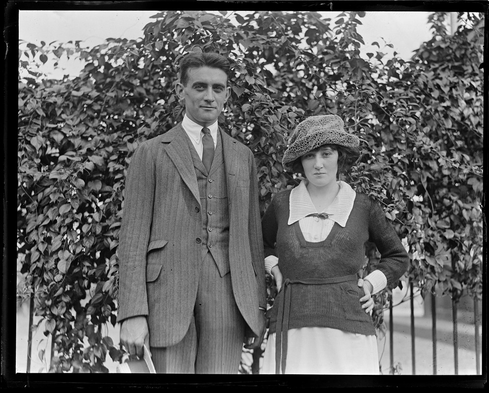 Thomas A. Fitzgerald, son of Honey Fitz, and intended wife, Miss Marion H. Reardon of 59 Bakersfield St., Dorchester. They were married on Sept. 7, 1921.