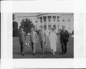John / President / Cal Jr. / and Mrs. Coolidge with Secretary Christian on White House Lawn
