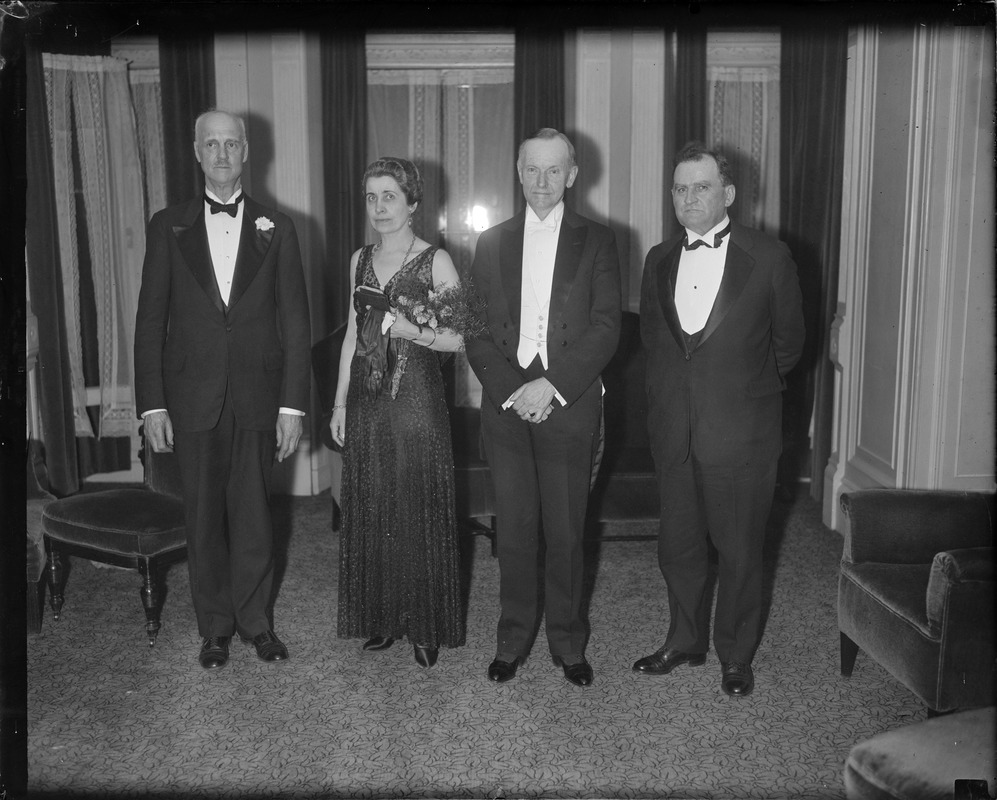 Ex-Pres. Coolidge and wife in Boston at Vermont dinner