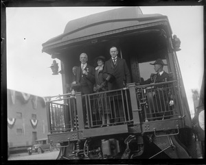 Andover Academy - Pres. Coolidge and Mrs. Coolidge arrive at Andover Station and meet A. Stearns - Headmaster of the Phillips Academy