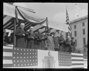 Gov. Coolidge, Sen. Lodge and others on reviewing stand
