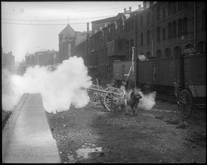 Cannons at Mechanic's Building fire salute for Pres. Wilson on his arrival in Boston