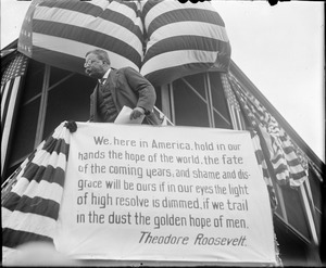 Teddy Roosevelt on the campaign trail speaking from rail car in Boston