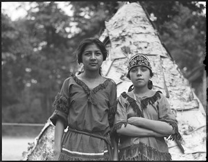 Indians left to right: Liza Dana, Mariah Lewey - real Indian maids to take part in Plymouth celebration