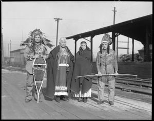 Maine Indians arrive by train in Boston
