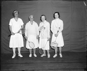 Badminton: L-R: Dorman Weaver, Mrs. George Wightman, Mrs. W. Harold Wilton and Elizabeth Kennedy of the Montreal Winter Club, Badminton winners at University club
