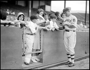 Art Shires, Boston Braves, autographing at Braves field