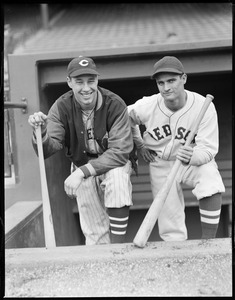 Red Sox second baseman Bobby Doerr and Cleveland Indians pitcher Bob Feller