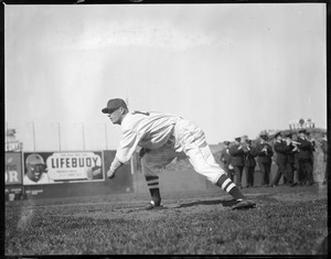 Lefty Grove of the Red Sox throws from the mound, at Fenway
