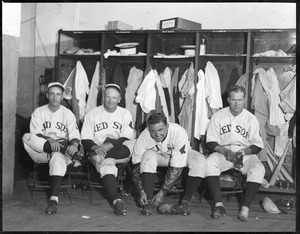 "Red Sox players in clubhouse. L-R: Ed ""Bull"" Durham, Wilcy Moore, Bob Kline and Paul Ivy Andrews"
