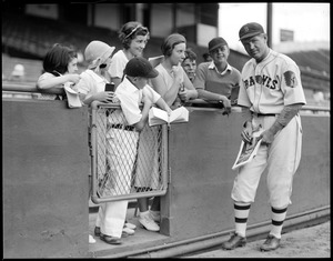 Art Shires of the Braves signs autographs at Braves Field