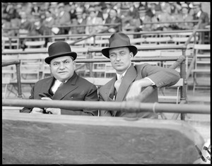Judge Fuchs, owner of the Braves, with James Roosevelt at Braves Field