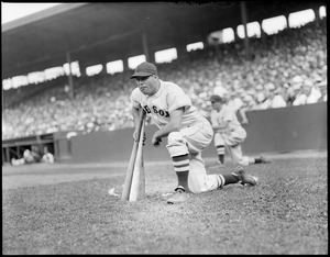 Jimmie Foxx in the on deck circle at Fenway Park