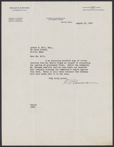 Sacco-Vanzetti Case Records, 1920-1928. Defense Papers. Arthur D. Hill Correspondence: E-F. Box 22, Folder 5, Harvard Law School Library, Historical & Special Collections
