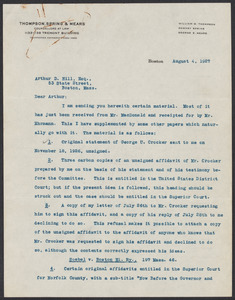 Sacco-Vanzetti Case Records, 1920-1928. Defense Papers. Arthur D. Hill Correspondence: Thompson, William G. Box 22, Folder 16, Harvard Law School Library, Historical & Special Collections