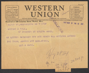 Sacco-Vanzetti Case Records, 1920-1928. Defense Papers. Arthur D. Hill Correspondence: U-W, anonymous. Box 22, Folder 17, Harvard Law School Library, Historical & Special Collections