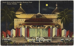 Night scene of band shell in Bayfront Park, Miami, Florida
