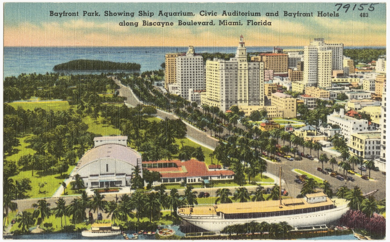 Bayfront Park Showing Ship Aquarium Civic Auditorium And Hotels Along Biscayne Boulevard Miami Florida