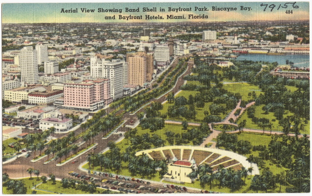 Aerial View Showing Band Shell In Bayfront Park Biscayne Bay And Hotels Miami Florida