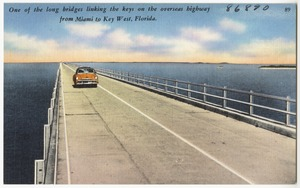 One of the long bridges linking the keys on the overseas highway from Miami to Key West, Florida
