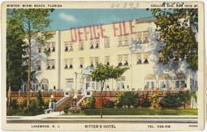 Winter: Miami, Florida, Collins Ave. and 13th St., Ritter's Hotel