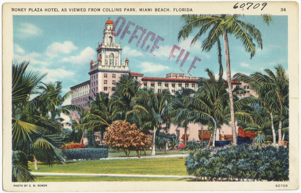 Roney Plaza Hotel As Viewed From Collins Park Miami Beach Florida