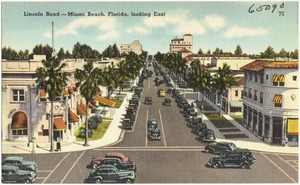 Lincoln Road- Miami Beach, Florida, looking east