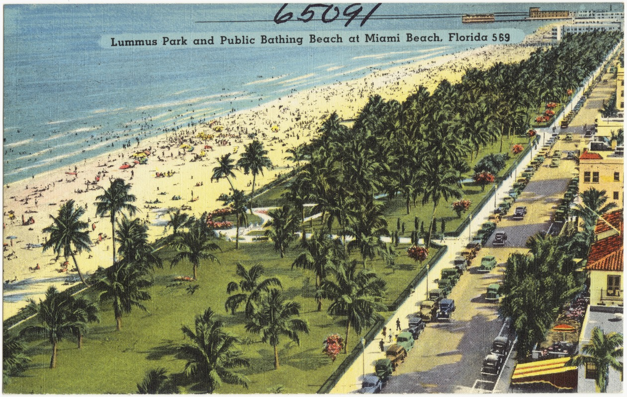 Lummus Park And Public Bathing Beach At Miami Florida