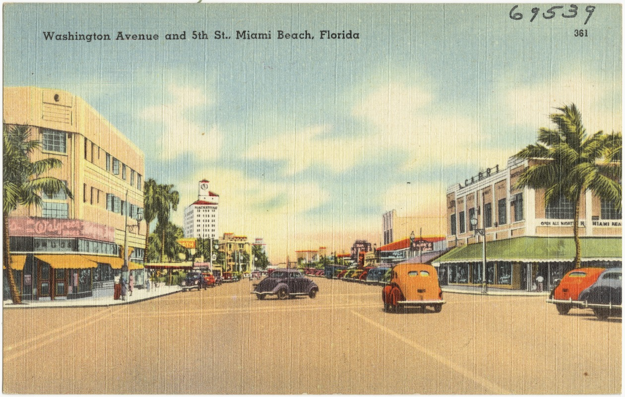 Washington Avenue And 5th Street Miami Beach Florida