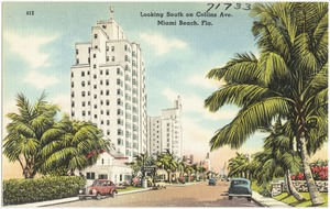 Looking south on Collins Ave., Miami Beach, Florida