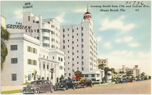 Looking south from 17th and Collins Ave., Miami Beach, Florida