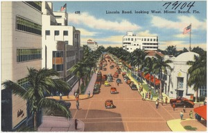 Lincoln Road, looking west, Miami Beach, Florida
