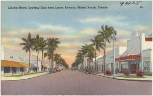Lincoln Road, looking east from Lennox Ave., Miami Beach, Florida