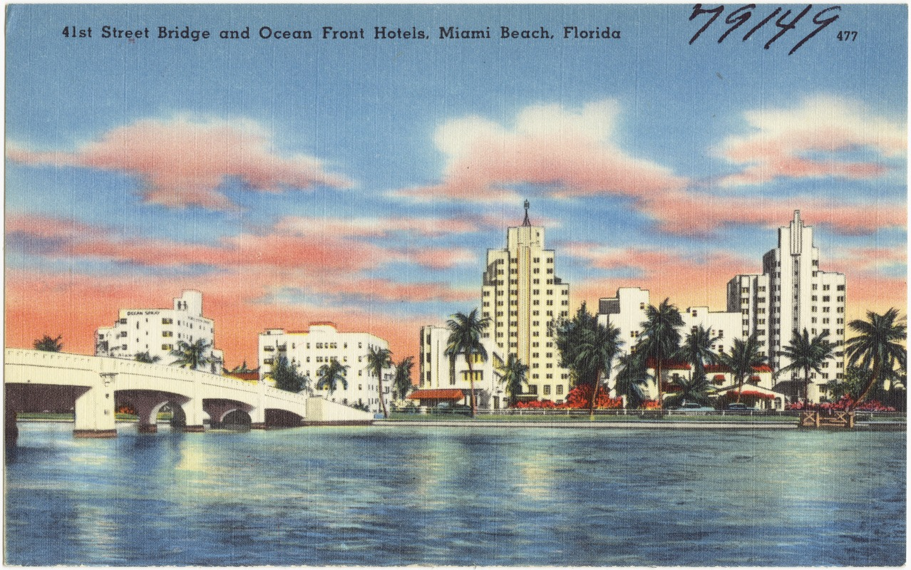 41st Street Bridge and Ocean Front hotels, Miami Beach, Florida