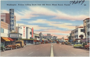 Washington Avenue looking south from 15th Street, Miami Beach, Florida