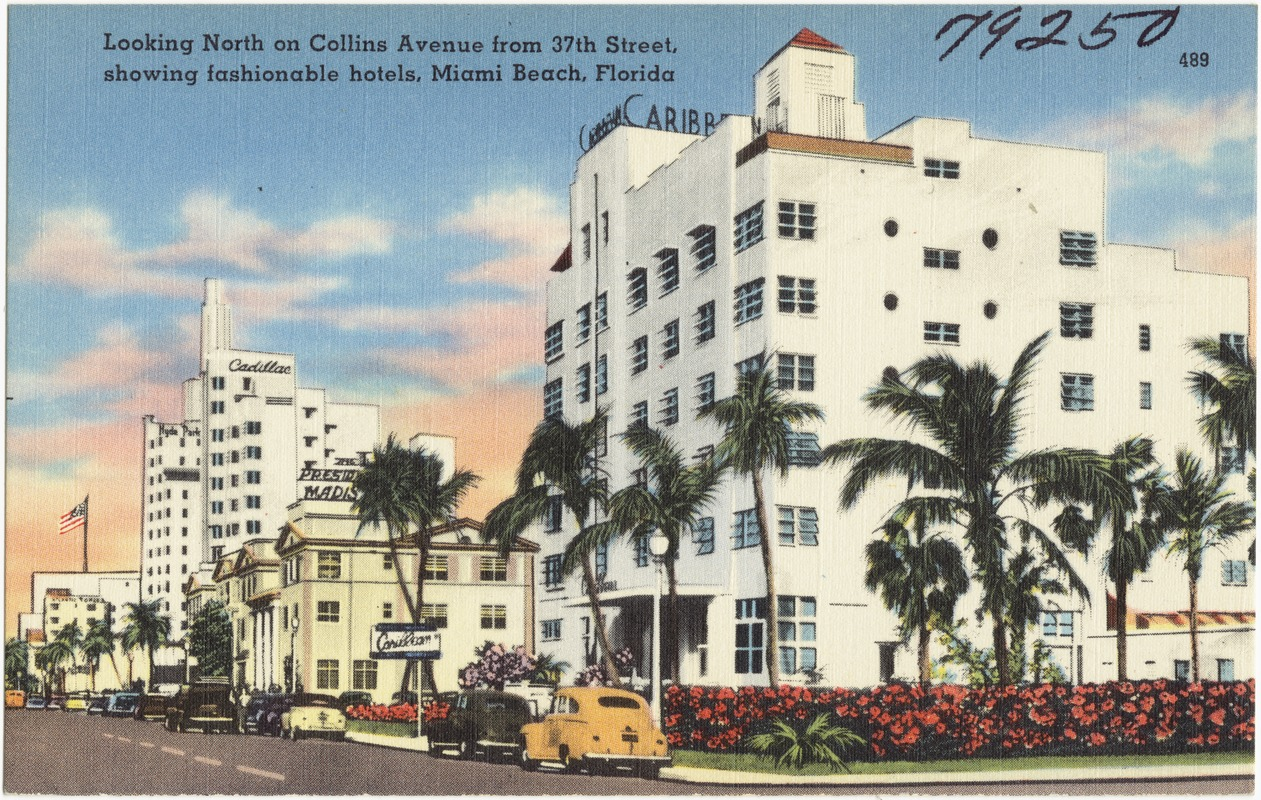 Looking North On Collins Avenue From 37th Street Showing Fashionable Hotels Miami Beach Florida