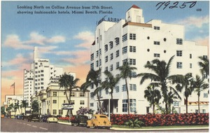 Looking north on Collins Avenue from 37th Street, Showing fashionable hotels, Miami Beach, Florida
