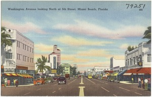 Washington Avenue looking north at 5th Street, Miami Beach, Florida