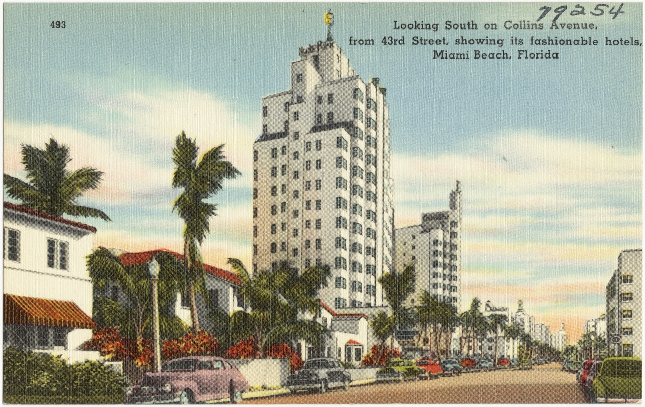 Looking south on Collins Avenue, from 43rd Street, Showing its fashionable hotels, Miami Beach, Florida