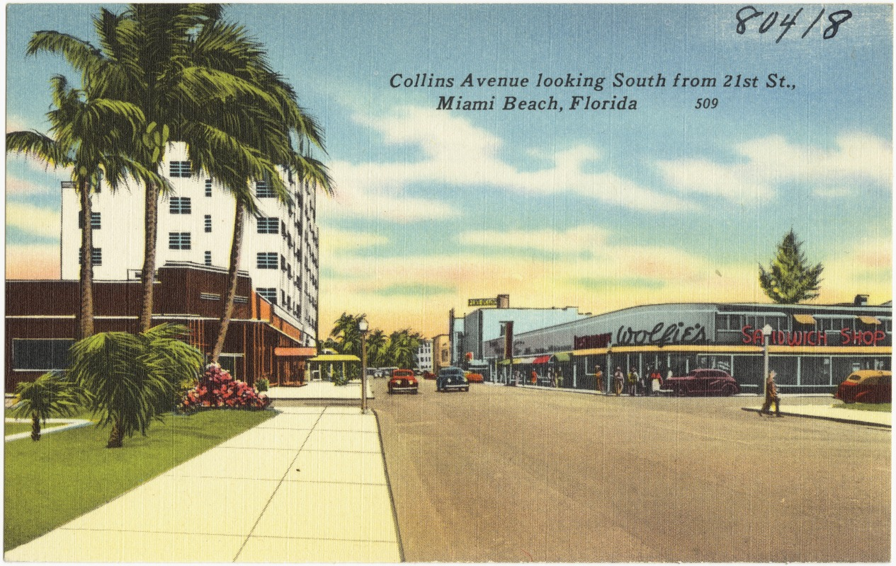 Collins Avenue looking south from 21st St., Miami Beach, Florida