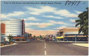 View of 41st Street and Sheridan Ave., Miami Beach, Florida