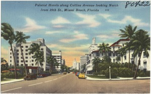 Palatial hotels along Collins Avenue looking north from 29th Street, Miami Beach, Florida